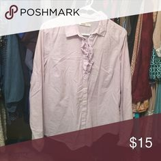 Button down top Light purple button down top with ruffle detail on the top. Pairs great with a skirt or slacks for work! Old Navy Tops Blouses