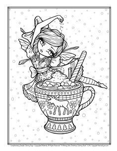FREE Hannah Lynn Coloring Page HannahLynn.com Hot Cocoa Fairy Christmas Mug, A Whimsy Girls Christmas Coloring Book Freebie Adult Coloring