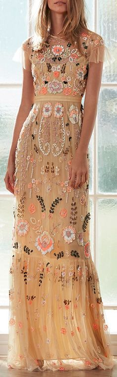 NEEDLE & THREAD Dust Yellow Floral Embroidered Tiered Maxi Dress