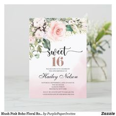 Sweet Sixteen Invitations, Custom Invitations, Birthday Invitations, Colored Envelopes, White Envelopes, Sweet 16 Parties, Pink Flowers, Blush Pink, Place Card Holders