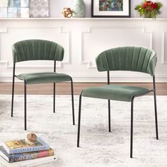 Wrought Studio Caistor Tufted Velvet Upholstered Side Chair & Reviews | Wayfair Solid Wood Dining Chairs, Upholstered Dining Chairs, Dining Chair Set, Dining Area, Dining Room, Dinning Chairs, Bar Chairs, Office Chairs, Dining Tables