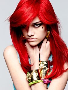 bright hair color ideas | titled Summer's Blood with bright red, blue and black hair colors ...