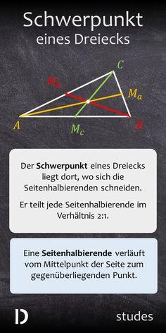 Der Schwerpunkt eines Dreiecks liegt dort, wo sich die Seitenhalbierenden schneiden. Er teilt jede Seitenhalbierende im Verhältnis 2:1. Eine Seitenhalbierende verläuft vom Mittelpunkt der Seite zum gegenüberliegenden Punkt. Mehr dazu im Video | studes