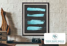 Teal Blue Strokes on Chalkboard Printable Wall Art By These Bare Walls - Teal Blue Nursery Print | Teal Print | Teal Strokes Print | Boys Nursery Print | Chalkboard Print