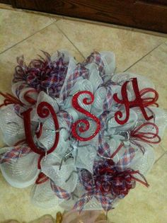 Deco Mesh  Patriotic Wreath by InfiniteCreationsByR on Etsy, $100.00