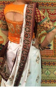 Find Pretty Orange Blouse Designs For Sarees Here Blouse Designs High Neck, Saree Blouse Designs, Blouse Styles, High Neck Saree Blouse, Saree Dress, Long Blouse, Stylish Blouse Design, Designer Blouse Patterns, Outfits