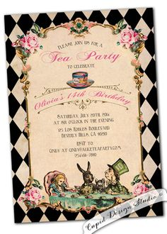 Alice in Wonderland Invitation. Vintage Birthday by CupidDesigns #AliceInWonderland #invitations #TeaParty