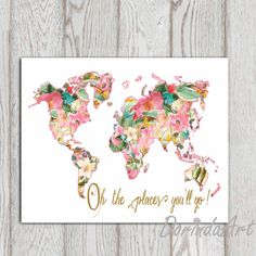 World map poster pink hearts nursery decor vanity art art print a floral world map with the words oh the places youll go gumiabroncs Images