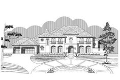 Luxury House Plans OHP-980509 offer large porches and a balcony which provide room for relaxation outside on warm summer days and cool evenings.  With a large family room you can easily entertain guests.  The bedroom layout of this home plans provide privacy for everyone in your family.