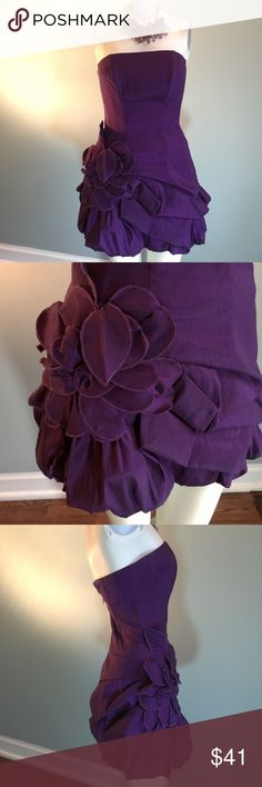 """Jessica McClintock Purple Party Dress Yes. It's as cute as the photos indicate. Shell 60% polyester/32% nylon/8% spandex. Lining 95% polyester/5% spandex. Back zipper, built-in stays in bodice to hold it up, and ADORABLE petal ruffle accents. Bust 32"""", waist 26"""", length shoulder to hem 30."""" Jessica McClintock Dresses Strapless"""
