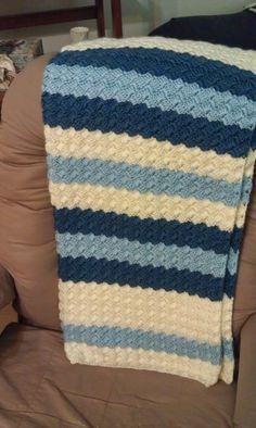 Blue Crochet Baby Blanket.... my new favorite pattern!  Making one in brown, tan and green right now.