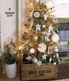 I have cut down on Christmas decorating quite a bit in the last few years. None of my children live in town anymore, and while t. Rustic Christmas, Christmas Ideas, Merry Christmas, Christmas Tree Decorations, Christmas Wreaths, Christmas Ornaments, Sign Stencils, Holiday Ideas, Holiday Decor