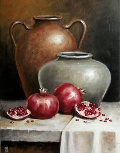 Pomegranates And Pitchers Embroidery Pattern Cross Stitch Design Counted Cross Stitch Counted Cross Stitch Pattern In Pdf Format Pomegranates And Pitchers Counted Cross Stitch Pattern In Pdf Format By Maxispatterns On Etsy Still Life Drawing, Still Life Art, Counted Cross Stitch Patterns, Cross Stitch Designs, Decoupage Vintage, Intermediate Colors, Pomegranate Art, Embroidery For Beginners, Paper Hearts