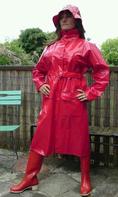 Red PVC Raincoat, Hat and Red Rubber Boots