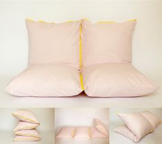 Pink & yellow - couch, extra bed, pouf, bench. #couch #pillow #playmat