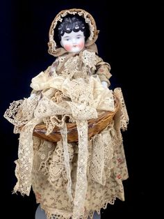 """Antique China Head Doll Center Part Vintage Dress Lace Peddler 17"""" Germany #Unknown"""
