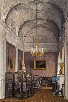 The Boudoir - The Suite of Empress Alexandra Feodorovna at the Winter Palace in Saint Petersburg. Depicted in gouache by court painters Alexandra Feodorovna, Romanov Palace, House Of Romanov, Imperial Palace, Imperial Russia, Versailles, Art Watercolor, Watercolour Drawings, Russian Architecture