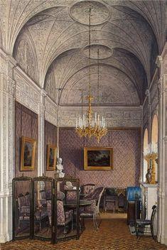"""Interiors of the Winter Palace. The Boudoir of Empress Alexandra Fyodorovna""."