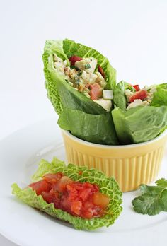 Southwestern Chicken Salad w/Bacon & Avocado in a Lettuce Wrap from ibreatheimhungry.com...great looking low carb meal!