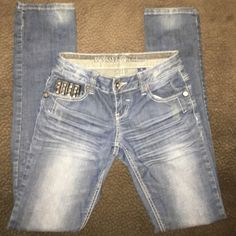 Blue Jeans!  Skinny Straight with studs around the pockets. Jeans Straight Leg