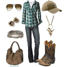 Cutie in Country Clothes - switch the hat out for a straw cowboy hat