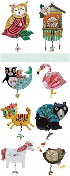 Quirky Pendulum Clocks by Michelle Allen. Owl, flamingo, bear, and cat.