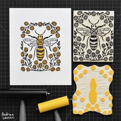 Andrea Lauren: Finished carving and printing this new two-color honeybee block print yesterday. Many thanks for your many recent orders in my shop; this one has just been posted too, if you are interested!