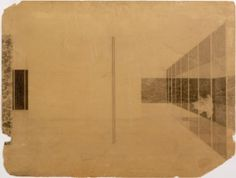 Mies van der Rohe. German Pavilion, International Exposition, Barcelona, Spain, Interior perspective. 1928-1929