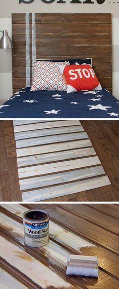 Very Simple DIY Wood Plank Headboard | Click for 18 DIY Headboard Ideas | DIY Bedroom Decor Ideas on a Budget