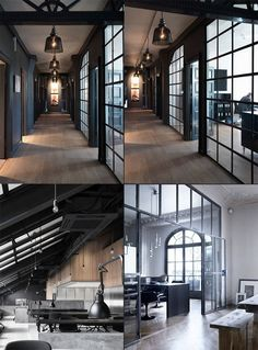 45 Modern Industrial Interior Design Living Room Décor Ideas - nevaeh news Loft Interior, Industrial Interior Design, Industrial House, Office Interior Design, Office Interiors, Interior Architecture, Modern Industrial, Kitchen Industrial, Industrial Lighting