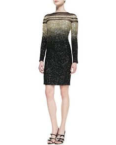 Long-Sleeve+Ombre+Sequined+Cocktail+Dress,+Black/Gold+by+Pamella+Roland+at+Neiman+Marcus.