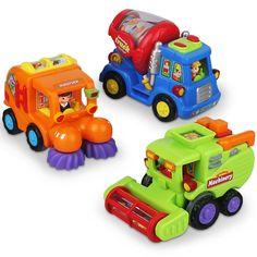 Push and Go Friction Powered Car Toys for Boys - Construction Vehicles Toys for Boys and Toddlers (Street Sweeper Truck, Cement Mixer Truck, Harvester Toy Truck) * Continue to the product at the image link. (This is an affiliate link)