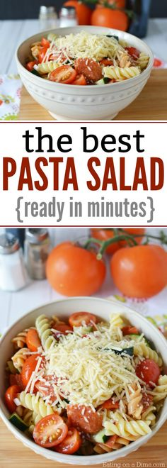Take a look at this Easy Pasta Salad Recipe. It is the most simple pasta salad recipe ever and it feeds a crowd. The best pasta salad recipe is so easy.