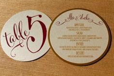 Tickled Pink Table Number and Wedding Menu Card designed by Darcy Sang