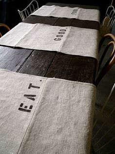DIY stenciled table runner...very cute, so many options for wording from 'A Home in the Making'