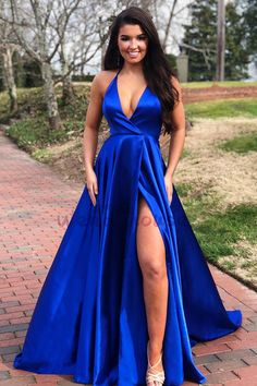 Prom Dress For Teens, Modest A-line Royal Blue V-neck Sleeveless Side High Leg Split Sweep Train Prom Evening Dress, cheap prom dresses, beautiful dresses for prom. Best prom gowns online to make you the spotlight for special occasions. Formal Evening Dresses, Elegant Dresses, Sexy Dresses, Beautiful Dresses, Grad Dresses, Dress Formal, Dress Prom, Homecoming Dresses, Slit Prom Dresses