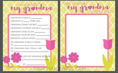 All About Mom & Grandma (Free Mother's Day Printables) - Crafty Morning