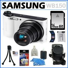 """Samsung WB150 14.2MP WI-Fi Digital Camera with 18x Optical Zoom and 3-inch LCD in White + 16GB Memory Card + Replacement Battery Pack + Camera Case + Accessory Kit by Samsung. $169.00. Samsung's WB150F SMART Long Zoom Digital Camera (White) separates itself from the status of a mere point-and-shoot with WiFi functionality for instant sharing and """"cloud"""" storage. When in a hotspot with the WB150F you can upload to social networking sites, sync the camera with other """"..."""