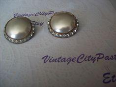 Vintage Round Pearl Clip Earrings with Rhinestones, Vintage Pearl Earrings, Ear Clips, Costume Jewelry by vintagecitypast on Etsy