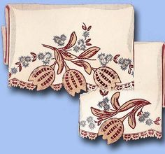 1940s Crochet Tulip Motifs Pillowcases & Linens Uncut Superior Hot Iron Transfer #Superior #PillowcaseMotifs