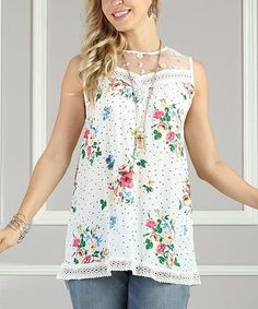 Another great find on #zulily! White & Pink Floral Mesh-Yoke Tunic - Women & Plus #zulilyfinds