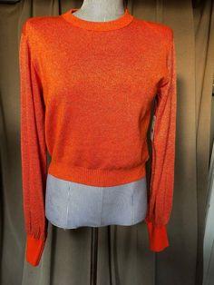 51d93e893e Anthropologie Free People NEW tags NWT orange sheen sparkle sweater XS   FreePeopleAnthropologie  crewneck