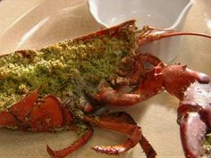 Baked Lobster with Garlic Butter Panko recipe from Tyler Florence via Food Network Food Network Recipes, Food Processor Recipes, Cooking Recipes, Lobster Recipes, Seafood Recipes, Crawfish Recipes, Seafood Dinner, Fish And Seafood, Lobster Dinner