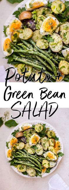 This potato and green bean salad with eggs is a light, fresh and healthy vegetarian summer side dish that you'll want to make all season long! The lemon-herb vinaigrette makes it a great option for those who don't like mayo in their potato salad.