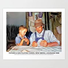 Father & Son Playing Cards, New Iberia, Louisiana 1938 Art Print Colorized History, New Iberia, Meet The Artist, Father And Son, Louisiana, Printing Process, Sons, Playing Cards, Art Prints