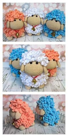 Crochet Sheep, Easter Crochet, Crochet Crafts, Yarn Crafts, Crochet Projects, Free Crochet, Crochet Animal Patterns, Stuffed Animal Patterns, Crochet Animals