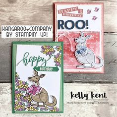 Stamp Review Crew | Kangaroo & Company – kelly kent Foam Adhesive, Animal Cards, Special Birthday, Texture Painting, Embossing Folder, Stampin Up Cards, Happy Valentines Day, Flower Designs, Kangaroo