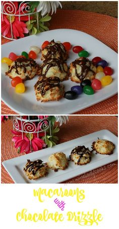 Macaroons With Chocolate Drizzle, is a favorite Spring Holiday Treat, for dessert. Easy to make click thru for details.
