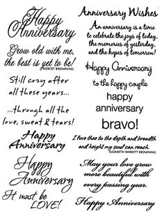 MSE-My Sentiments Exactly Clear Stamps. For all words you want to clearly stamp. Clear rubber stamps are economical, easy to position and store compactly. This package contains Anniversary: sixteen cl Anniversary Card Sayings, Wedding Anniversary Cards, Happy Anniversary, Wedding Cards, Anniversary Greetings, Anniversary Cards For Couple, Golden Anniversary, Wedding Programs, Birthday Greetings