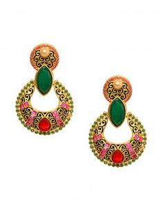 Swirl Painted Golden Earrings with Green Stone